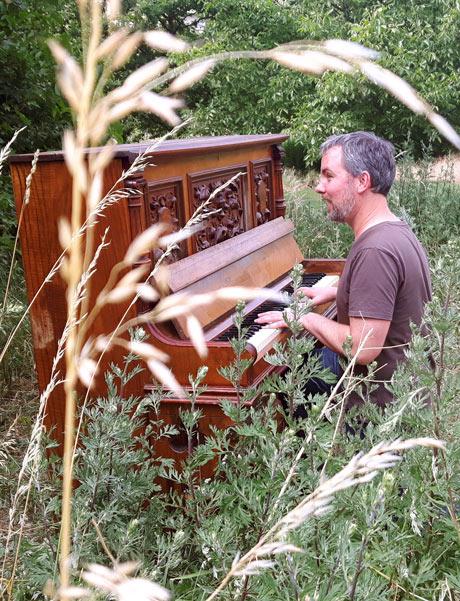 Foto: Jens Wenzel spielt Klavier auf einer Wiese